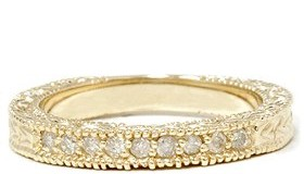 .25CT Hand Engraved 14k Yellow Gold Diamond Wedding Ring