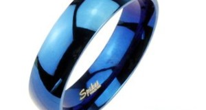 6mm 316L Stainless Steel Mirror Polished Blue IP Dome Wedding Band Ring Sz 5-13; Comes With Free Gift Box