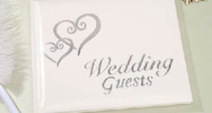 Linked Hearts Wedding Guest Book Silver
