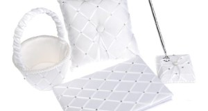 Artwedding 4pcs Satin Latticed Pearls Wedding Guest Book and Pen Set Pillow Basket Bowknot, White