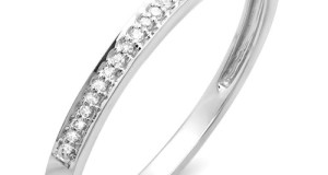 0.10 Carat (ctw) 10k White Gold Round Diamond Ring Wedding Anniversary Thin Slim Dainty Stackable Band 1/10 CT