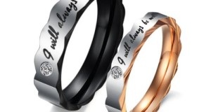 """Stainless Steel Love """"I Will Always Be with You"""" Couples Promise Rings Mens Ladies Wedding Bands with Cubic Zirconia"""