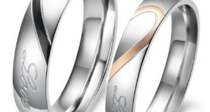 "KONOV Jewelry Lover's Mens Ladies Heart Shape Titanium Stainless Steel Promise Ring ""Real Love"" Couples Engagement Wedding Bands, Color Silver Black Gold (Available in Size 5, 6, 7, 8, 9, 10, 11, 12, 13, 14, 15) (with Gift Bag)"