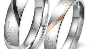 "D&J Jewelry Lover's Heart Shape Titanium Stainless Steel Promise Ring ""Real Love"" Couple Engagement Wedding Bands"