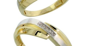 10k Yellow Gold Diamond Wedding Rings 2-Piece set for him 7 mm and her 6 mm 0.05 cttw Brilliant Cut, ladies sizes 5 – 10, mens sizes 8 – 14