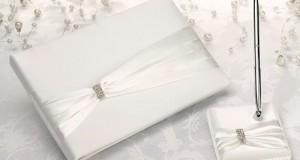 Cream Sash Guest Book with Pen Set