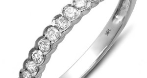 0.33 Carat (ctw) 14K White Gold Round Diamond Anniversary Ring Stackable Wedding Matching Guard Band 1/3 CT