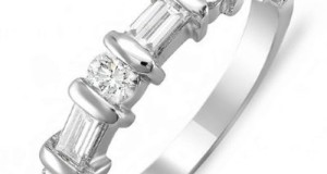 1.00 Carat (ctw) 14k White Gold Round & Baguette Diamond Ladies Anniversary Wedding Ring Matching Band 1 CT