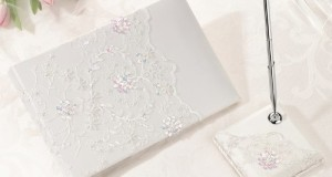 Ivory Sequin Lace Guest Book with Pen Set