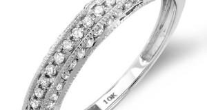 0.50 Carat (ctw) 10K White Gold Round Diamond Anniversary Wedding Band Guard Matching Ring 1/2 CT