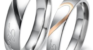 """Lover's Heart Shape Titanium Stainless Steel Mens Ladies Promise Ring """"Real Love"""" Couple Wedding Bands"""