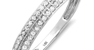 0.25 Carat (ctw) 14K White Gold Round White Diamond Anniversary Wedding Band Stackable Knife edge Ring 1/4 CT