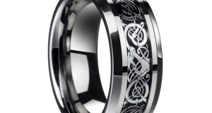 D&J Jewelry Stainless Steel Celtic Dragon Men's Wedding Band Engaement Ring Size 8 to 13 STR15