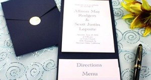 All-in-One Pocket Invitation Kit – Navy Blue Elegance – Pack of 20