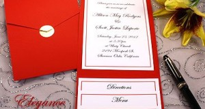 All-in-One Pocket Invitation Kit – Red Elegance – Pack of 20