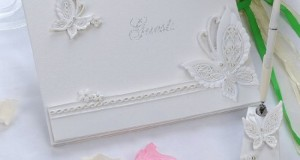 Remedios Boutique 2-Piece Bridal Accessory Set of Ivory Jaffaite Butterfly Guest Book and Pen with Pen Holder