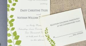 Botanical Green Leaf Wedding Invitations Kit – pack of 50