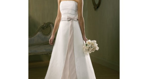 Bow Tie Sash A-line Strapless Wedding Dress
