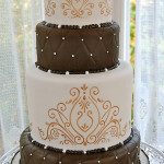 Brown White And Gold Wedding Cake