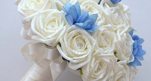 Ivory Rose and Blue Agapanthus Bridal Wedding Bouquet