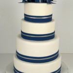 Navy White Silver Wedding Cake
