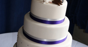 Purple and White Four Tier Wedding Cake