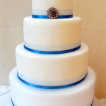 Simple 4 Tier Blue and White Wedding Cake